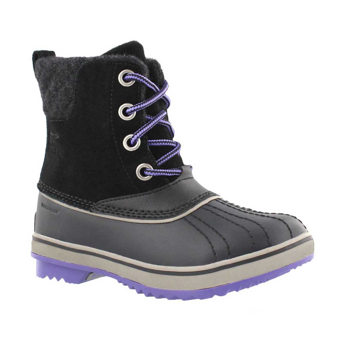 Girls' SLIMPACK II LACE black waterproof boots