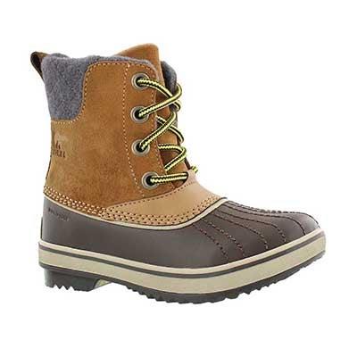 Sorel Girls' SLIMPACK II LACE elk waterproof boots