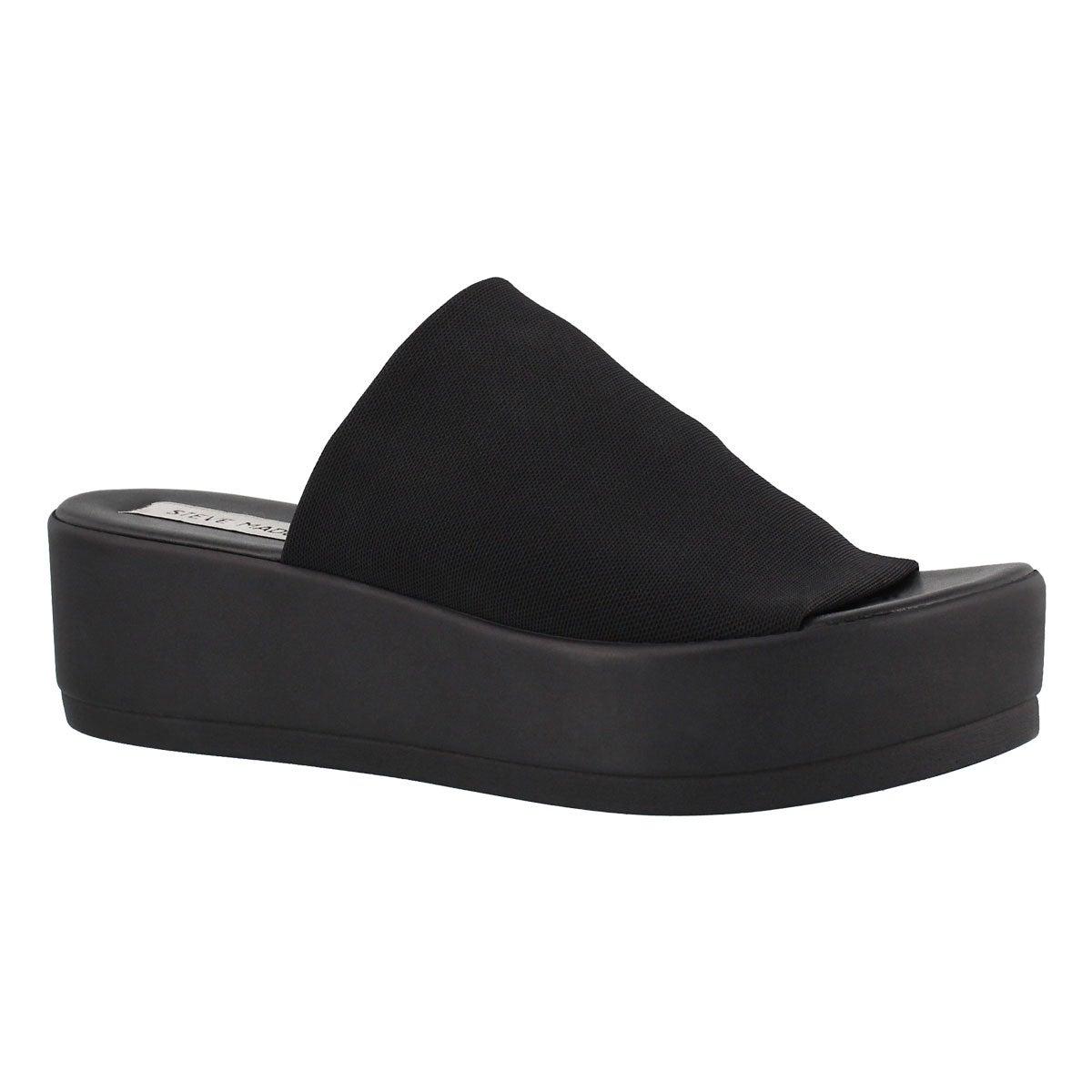 Women's SLINKY black slide wedge sandals