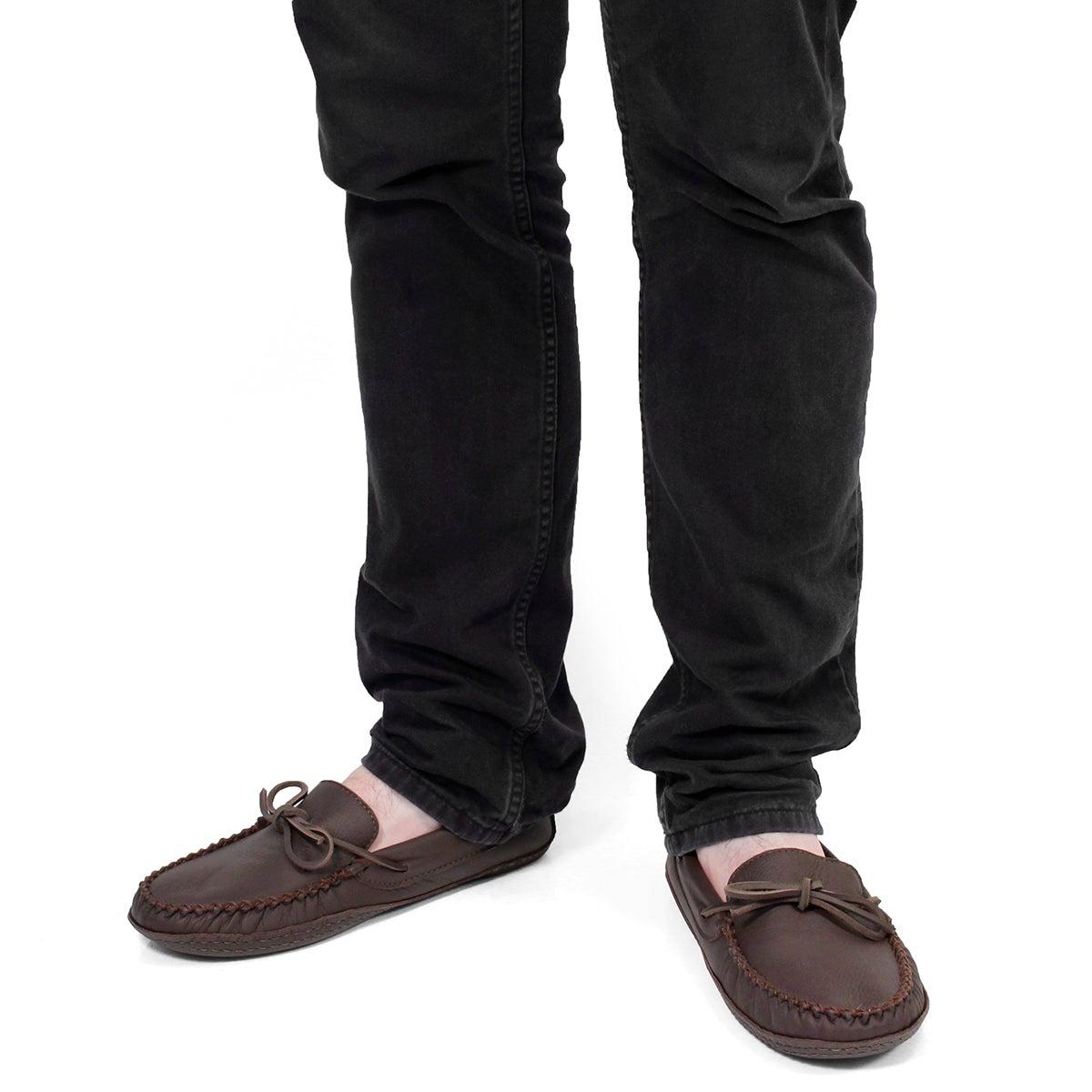 Mns brown deerskin leather dbl sole moc