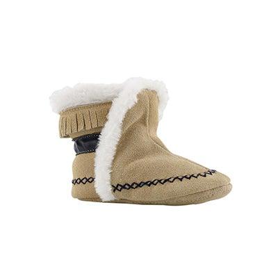 Infs-b Smocassin tan/navy slipper bootie