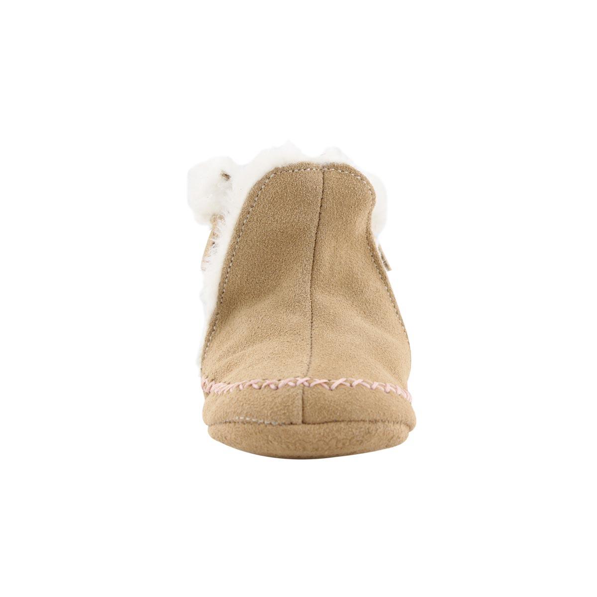 Infs-g Smocassin tan/pink slipper bootie