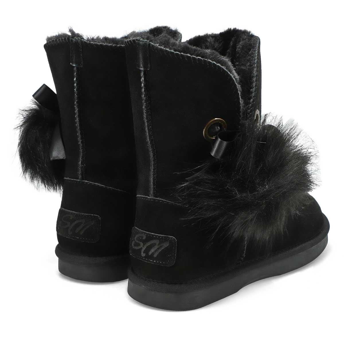 Lds Smocs Pom black suede boot