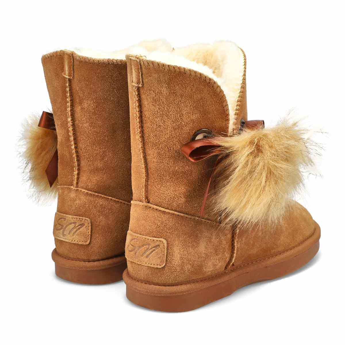 Lds Smocs Pom chestnut suede boot