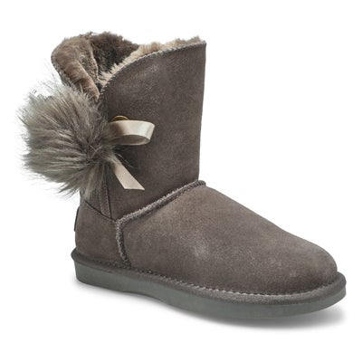 Lds Smocs Pom grey suede boot