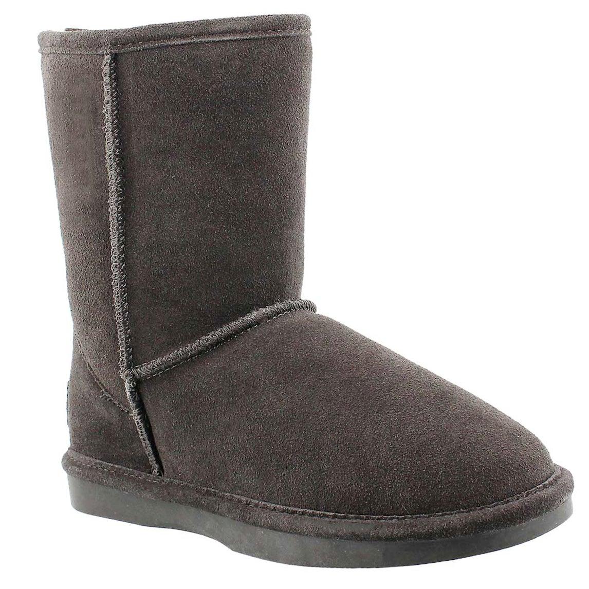 Lds Smocs Zip grey suede boot