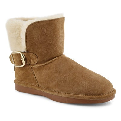 Lds Smocs 5 Buckle chestnut suede boot