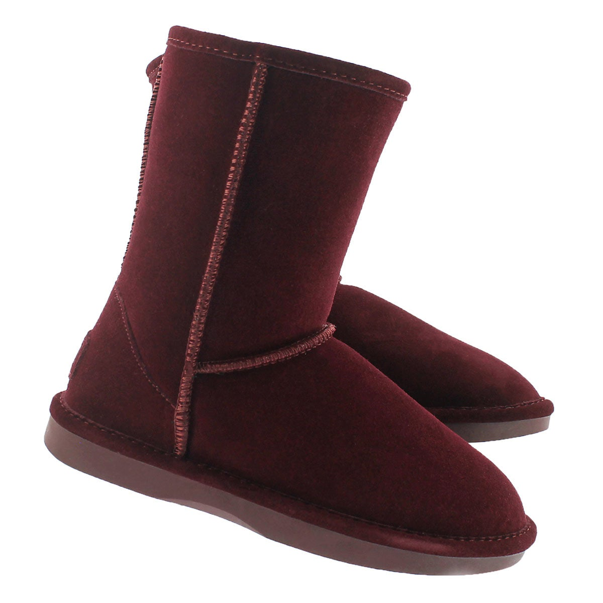 Lds Smocs 5 burgundy mid suede boot