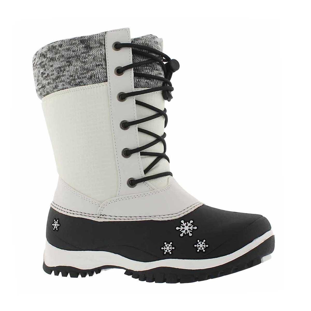 Grls Avery white wtpf winter boot