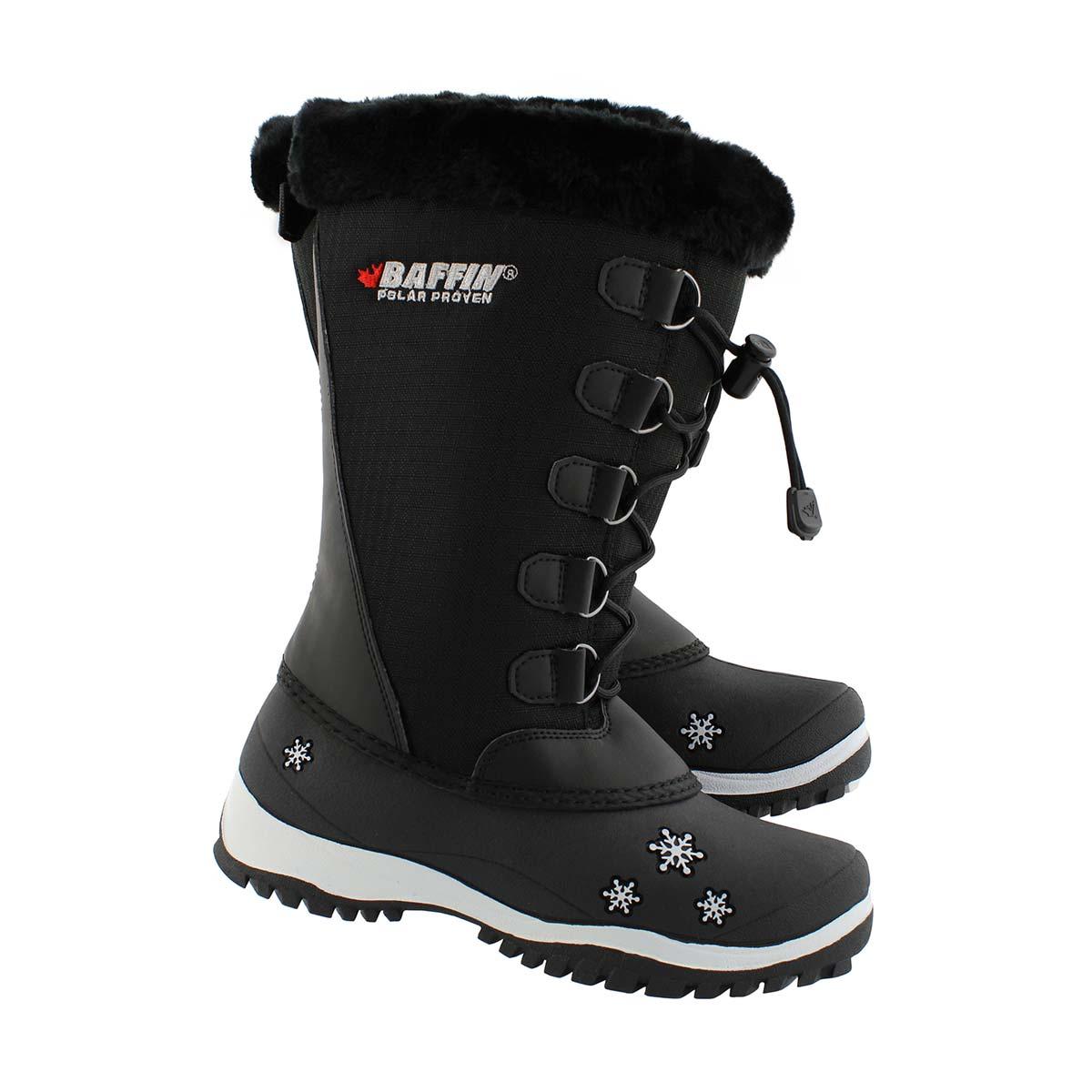 Grls Emma black wtpf winter boot