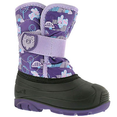 Kamik Infants' SNOWBUG4 purple printed winter boots