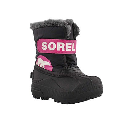 Sorel Infants' SNOW COMMANDER black/pink boots