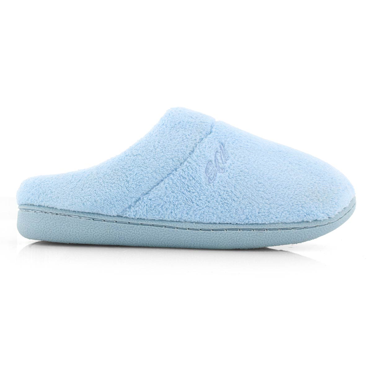 Lds Snuggle blue open back mem foam slpr