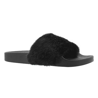 Lds Softey blk fur slide sandal