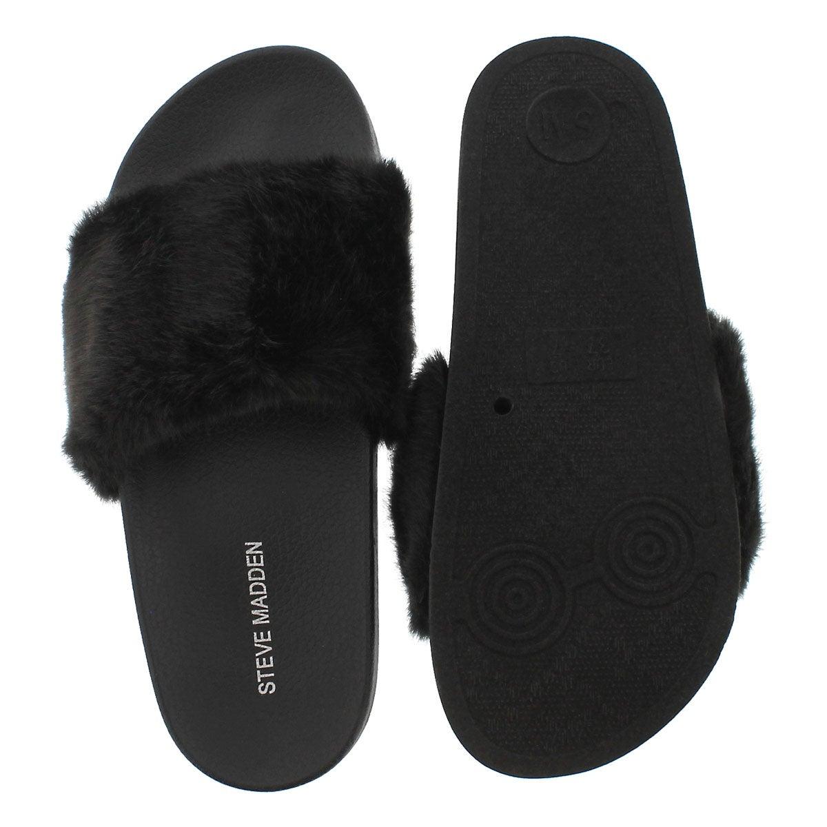 Lds Softey blk fur slide sandal