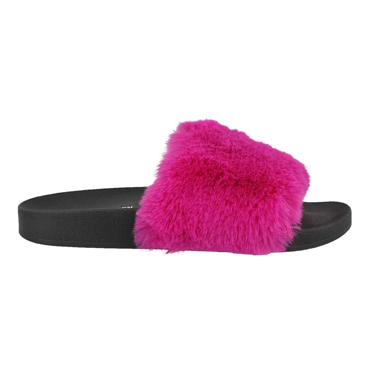 Lds Softey fuchsia fur slide sandal
