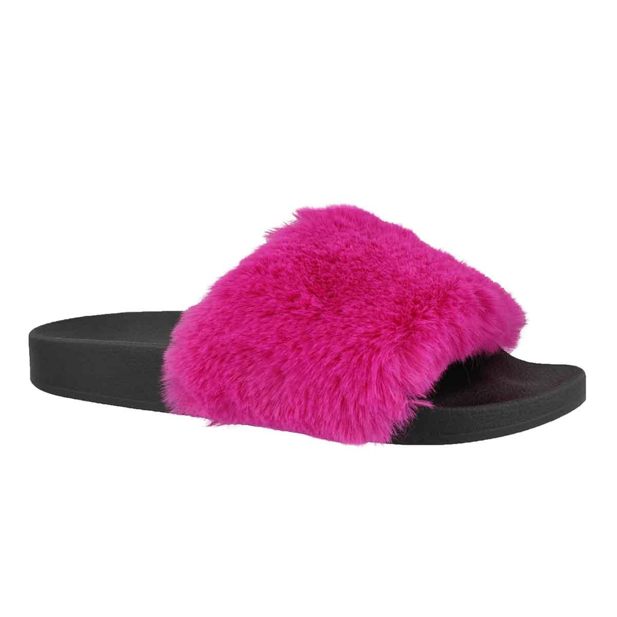 Women's SOFTEY fuchsia fur slide sandals