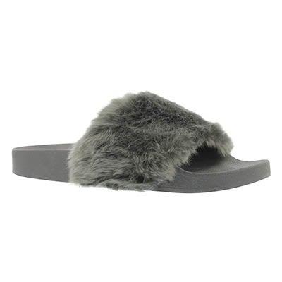 Lds Softey gry fur slide sandal