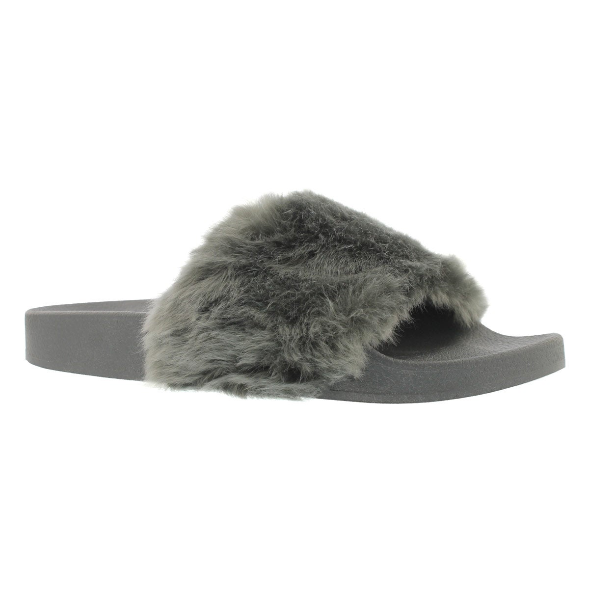Lds Softey gry fur slide sandal