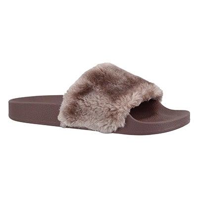 Lds Softey mauve fur slide sandal