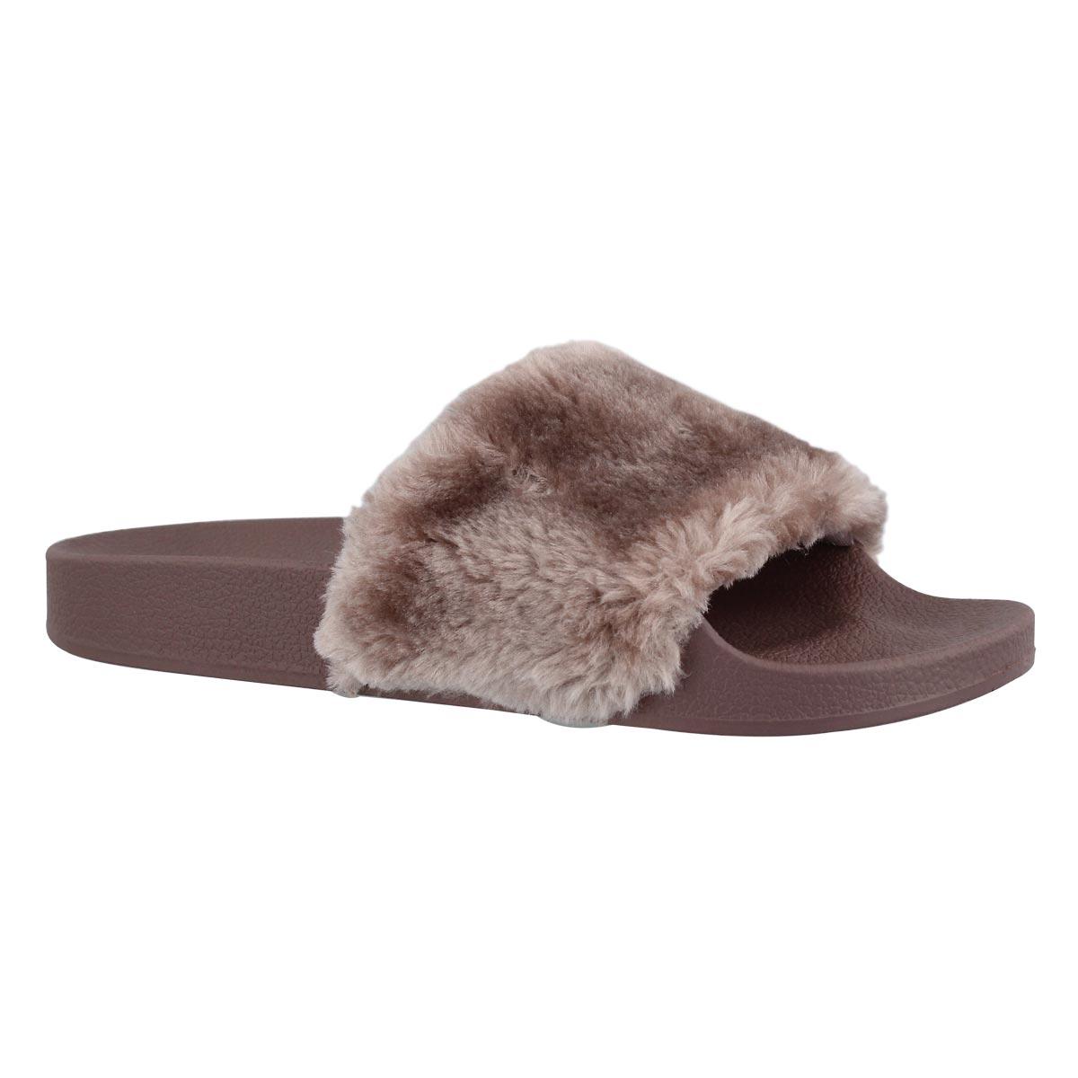 Women's SOFTEY mauve fur slide sandals