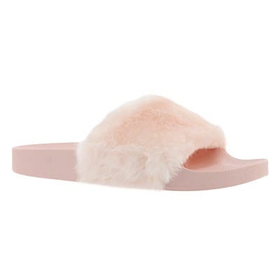 Lds Softey pink fur slide sandal