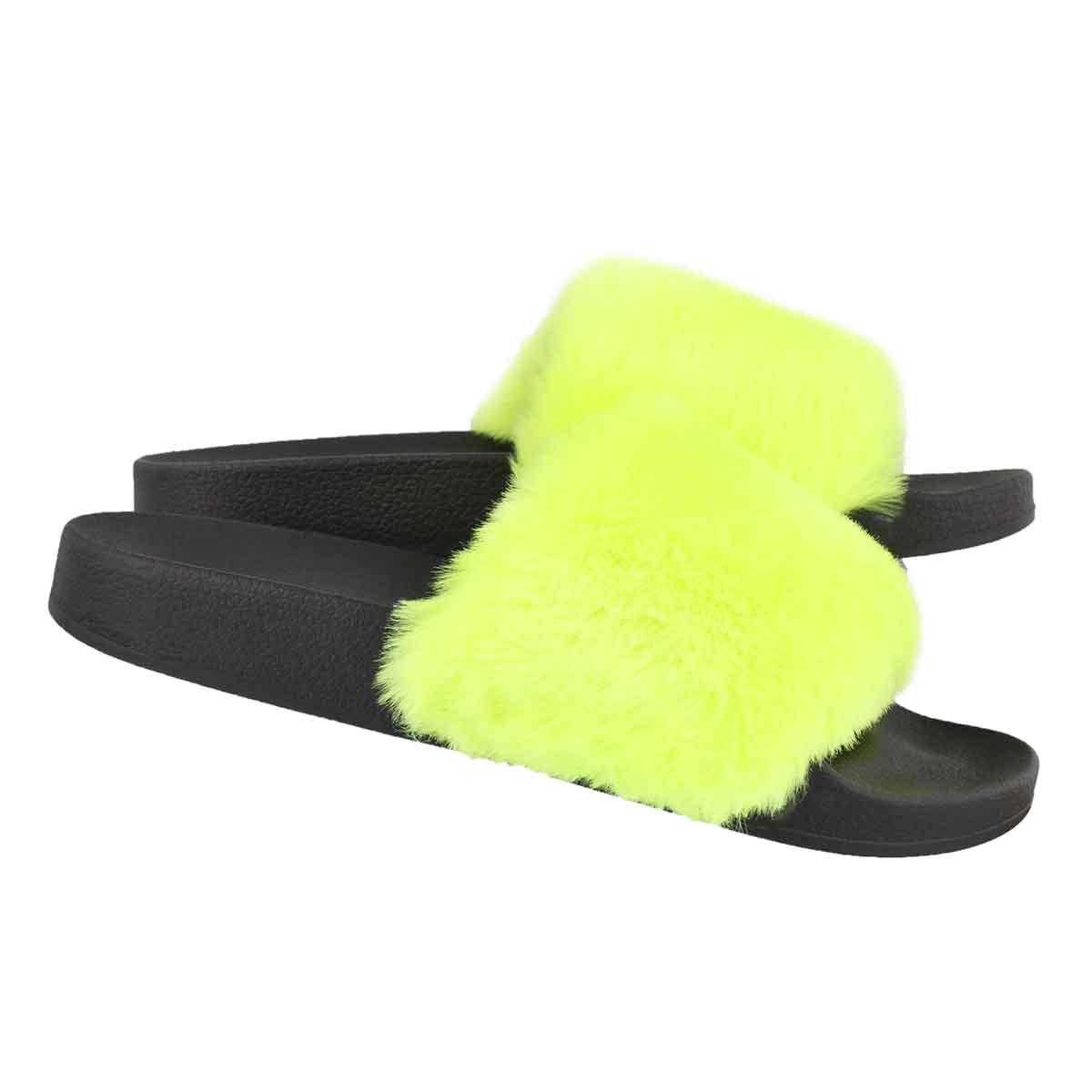 Lds Softey ylw fur slide sandal
