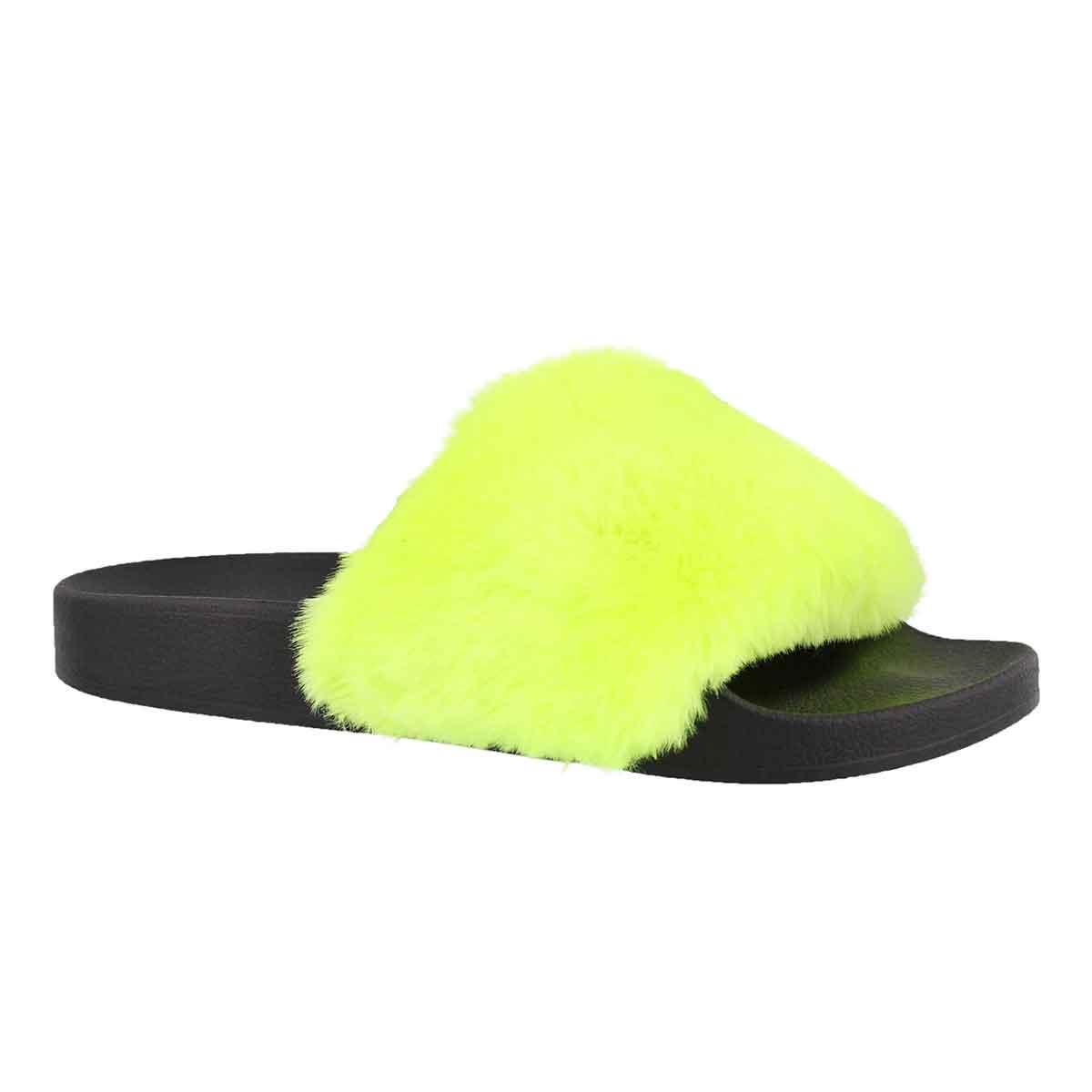 Women's SOFTEY yellow fur slide sandals
