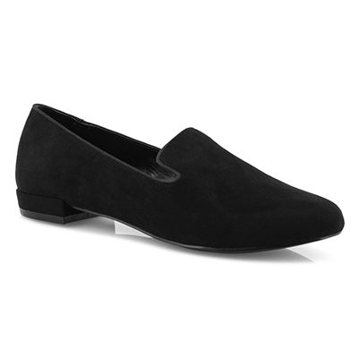 Lds Solid black casual flat