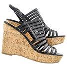 Lds Sombre blk cork wedge dress sandal