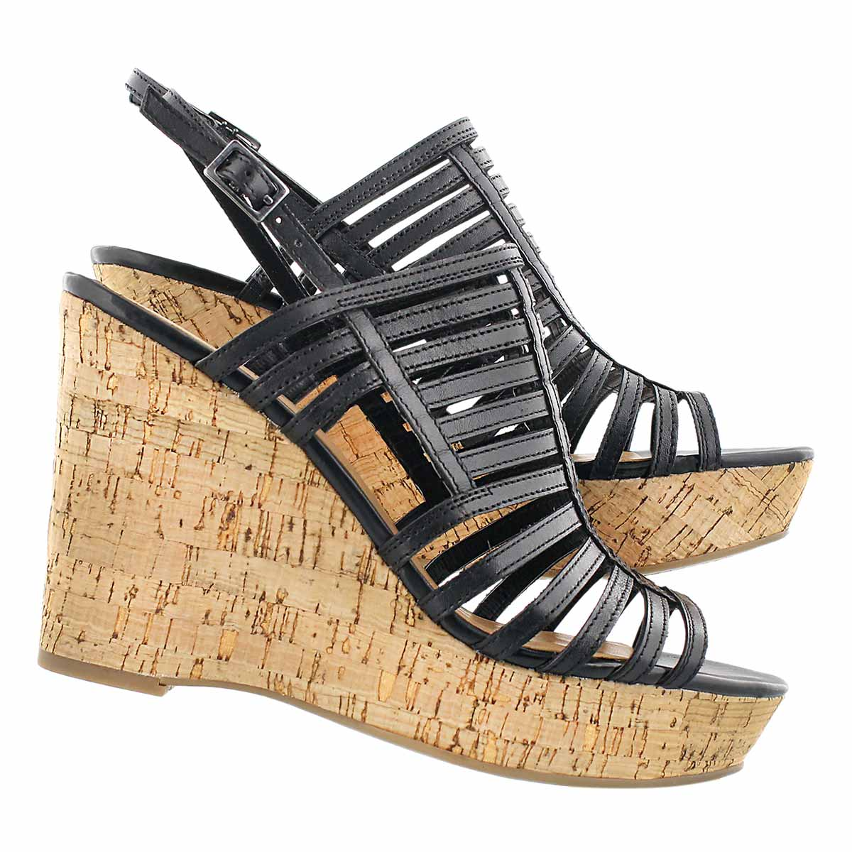 Lds Sombre blk cork wedge dress sandal