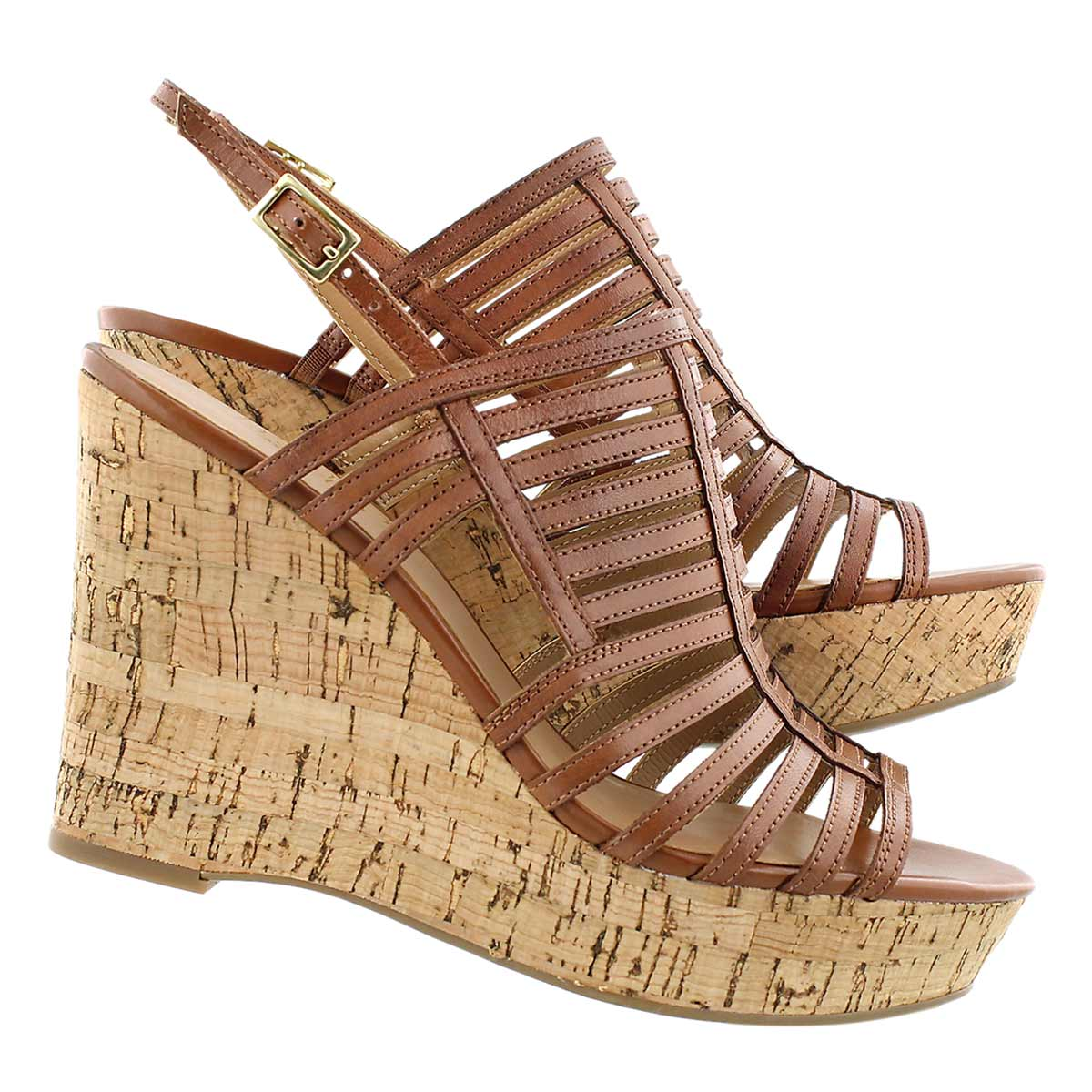 Lds Sombre almond cork wedge dress sndl