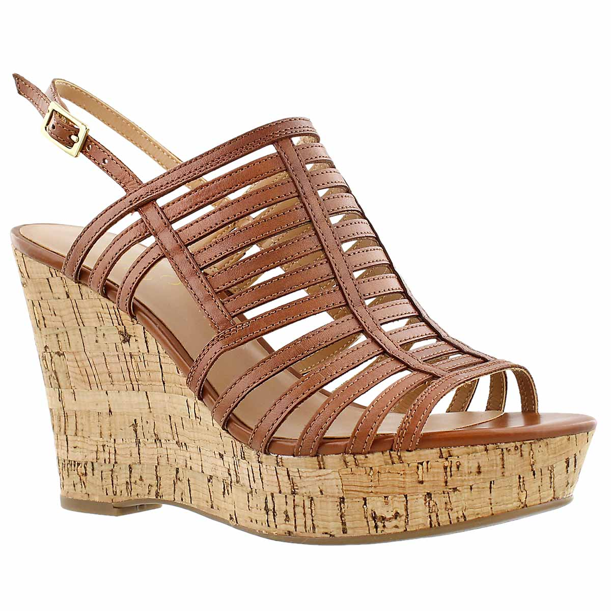 Lds Sombre almond cork wedge dress sndl