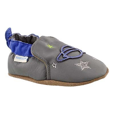 Robeez Infants' SPACE AND STARS grey/blue soft slippers