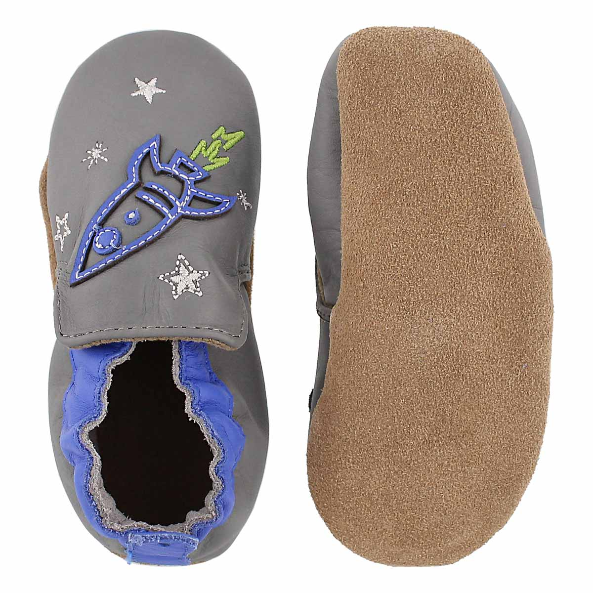 Inf Space and Stars gry/blu soft slipper