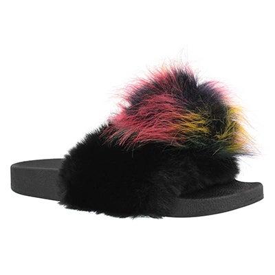 Lds Spiral black multi fur slide sandal