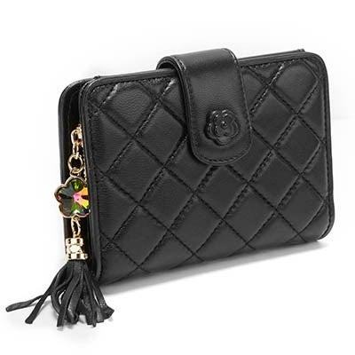 S-Q Women's SQW1517 black quilted snap shut wallet