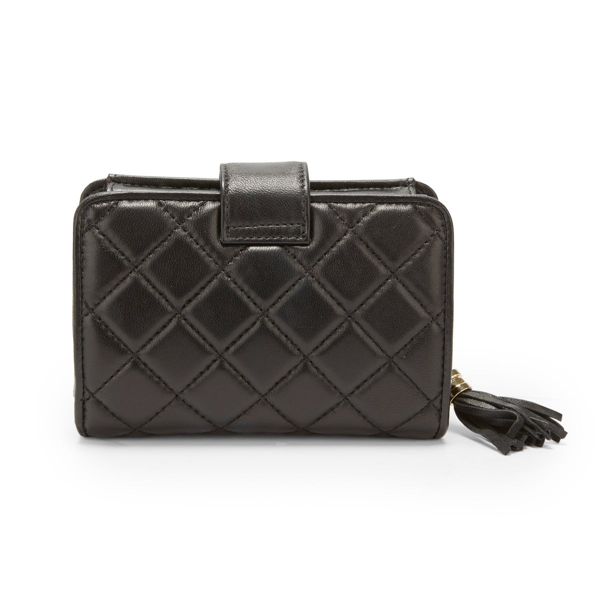 Lds black quilted snap shut wallet
