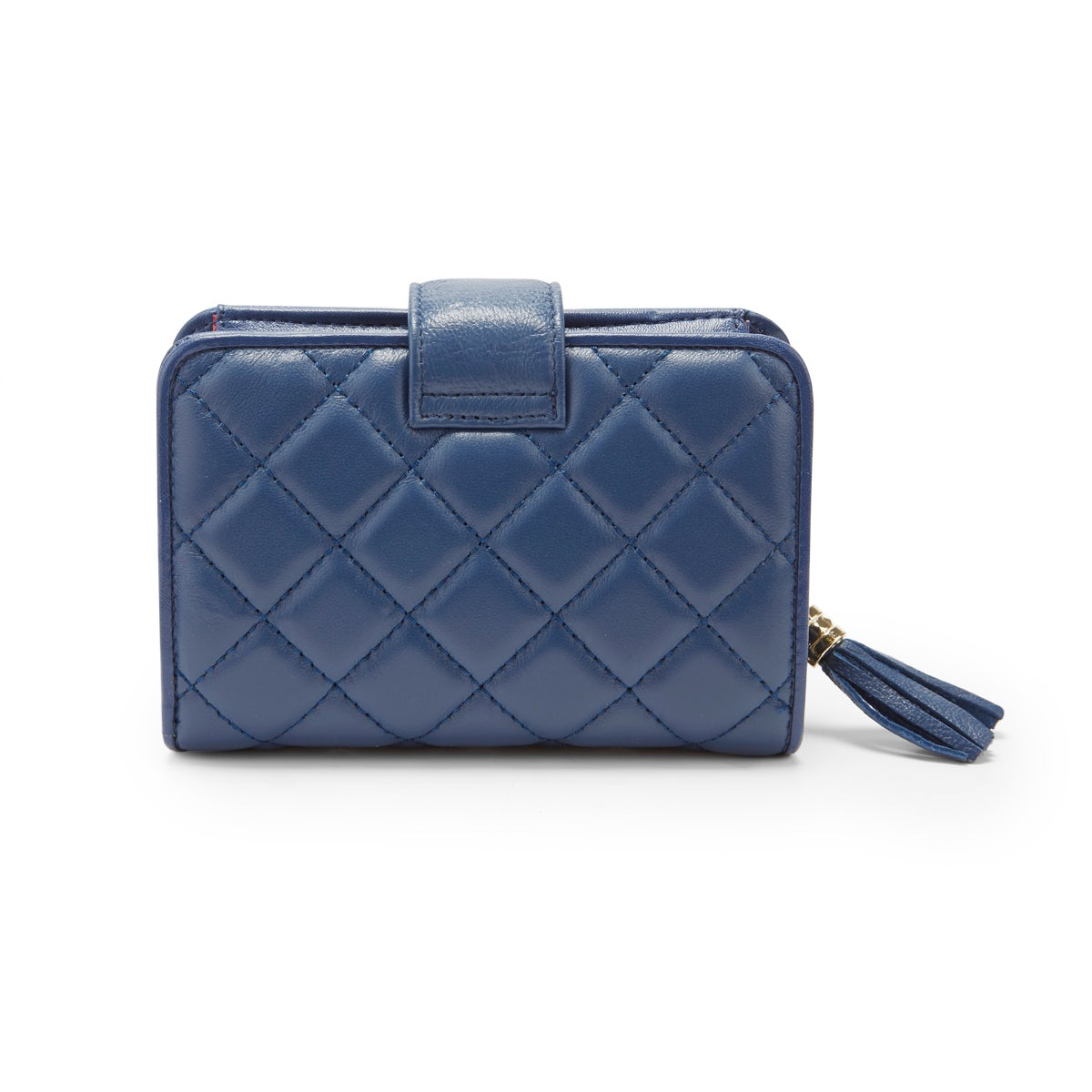 Lds navy quilted snap shut wallet