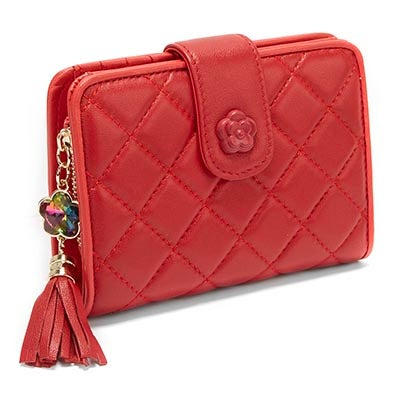 S-Q Women's SQW1517 red quilted snap shut wallet