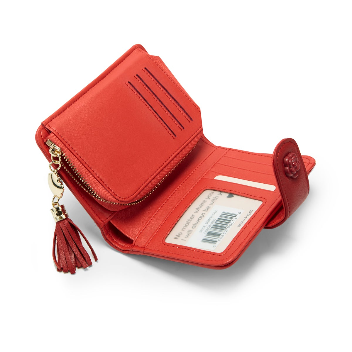 Lds red quilted snap shut wallet
