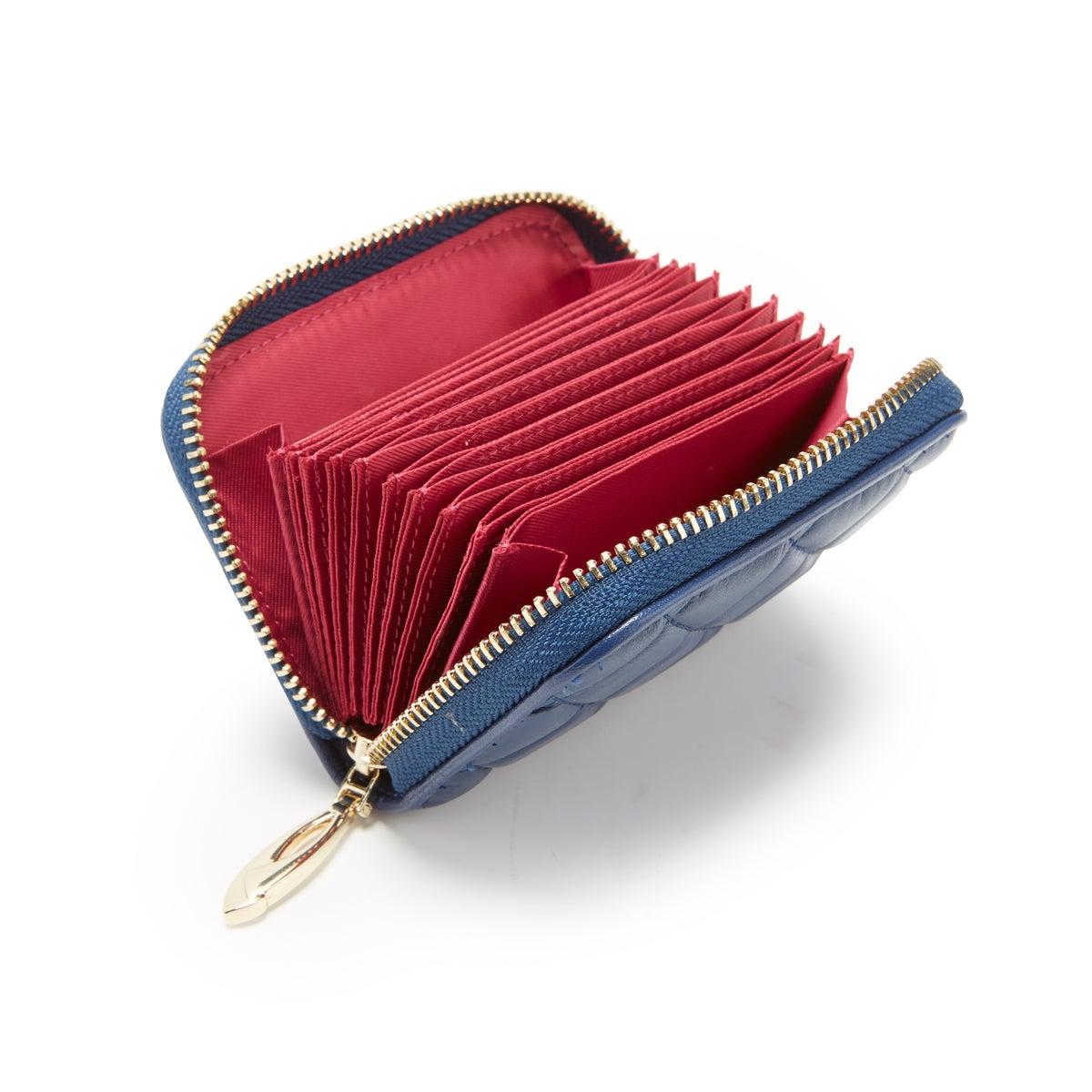 Lds navy zip around fanned card holder