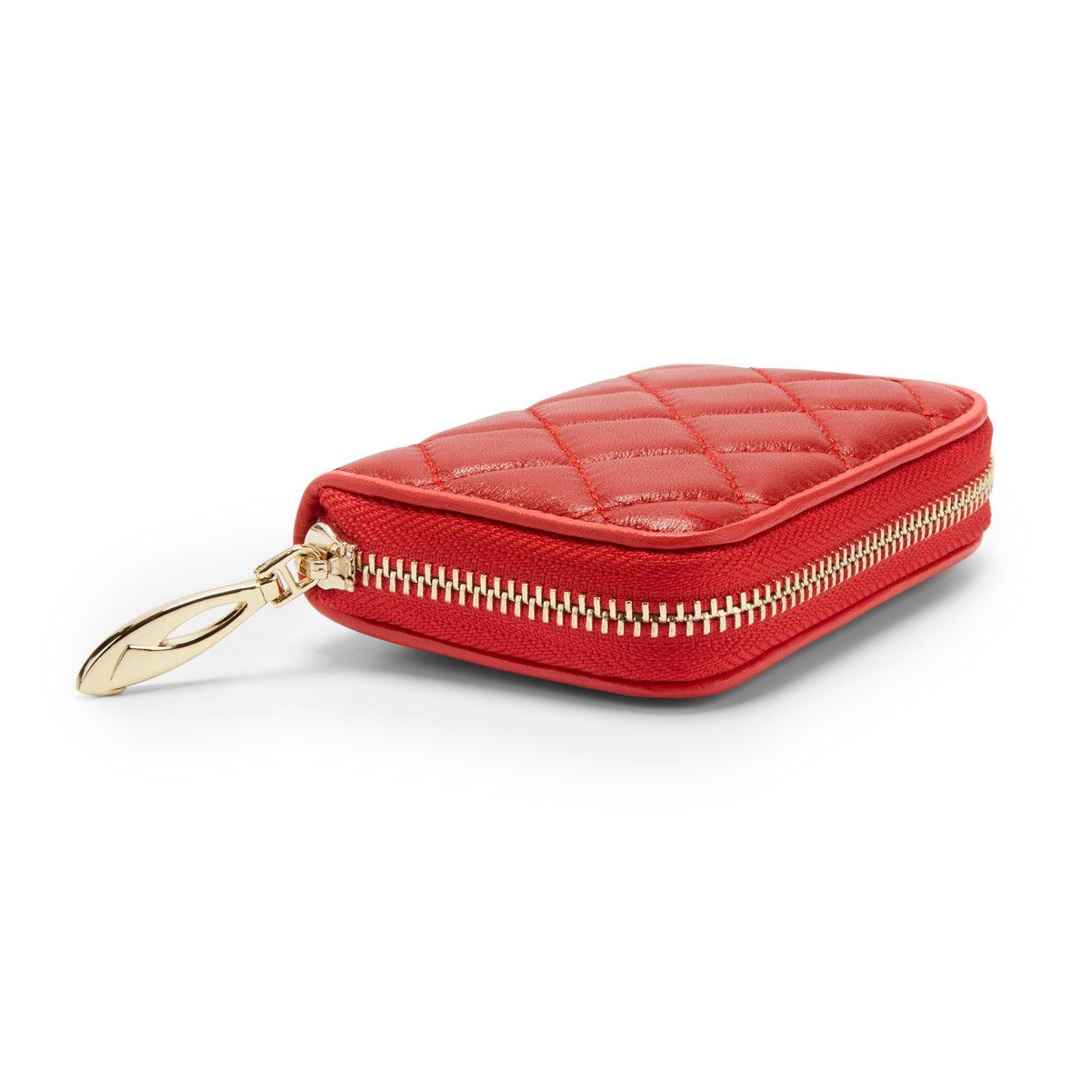 Lds red zip around fanned card holder