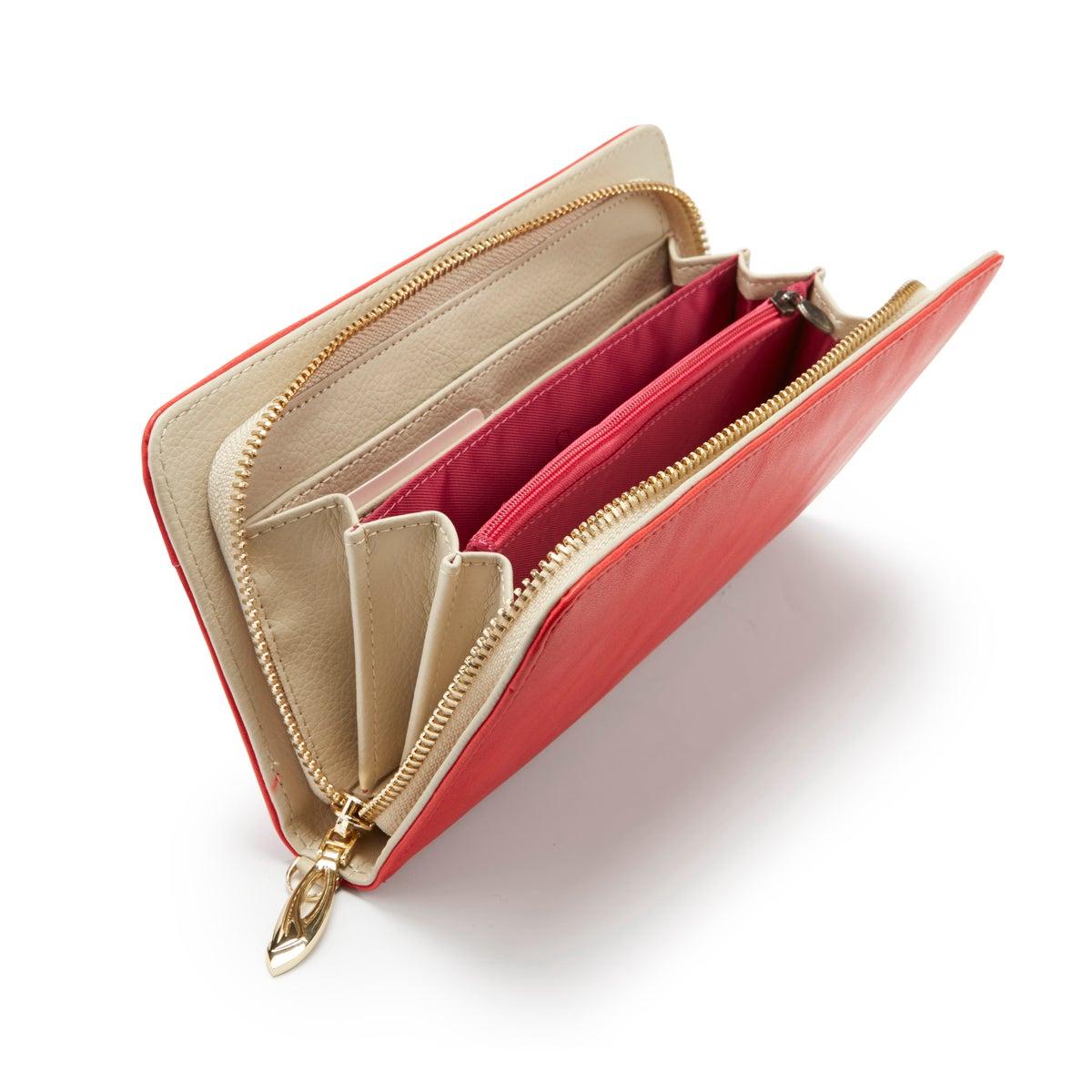 Lds red zip around convertible wallet