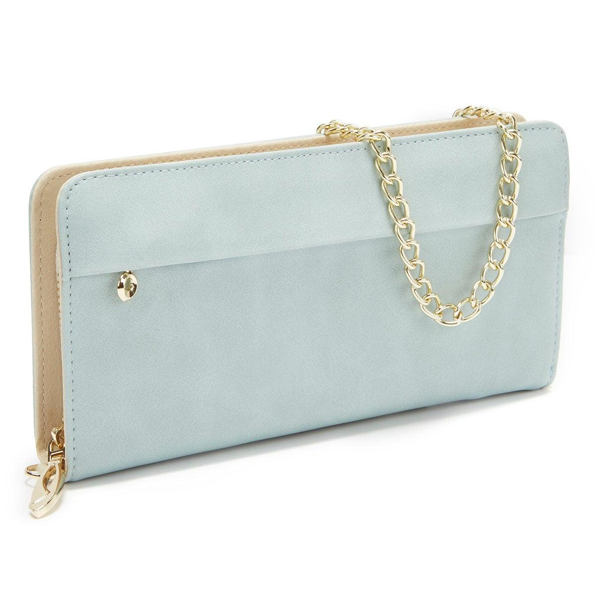 Lds blue zip around convertible wallet