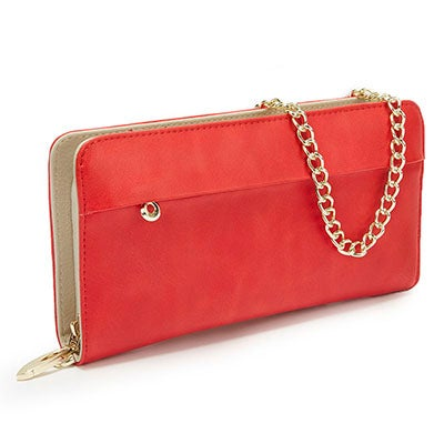 S-Q Women's SQW1555 red zip around convertible wallet