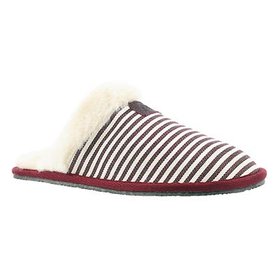 SoftMoc Women's STACEY burgundy stripe memory foam slipper