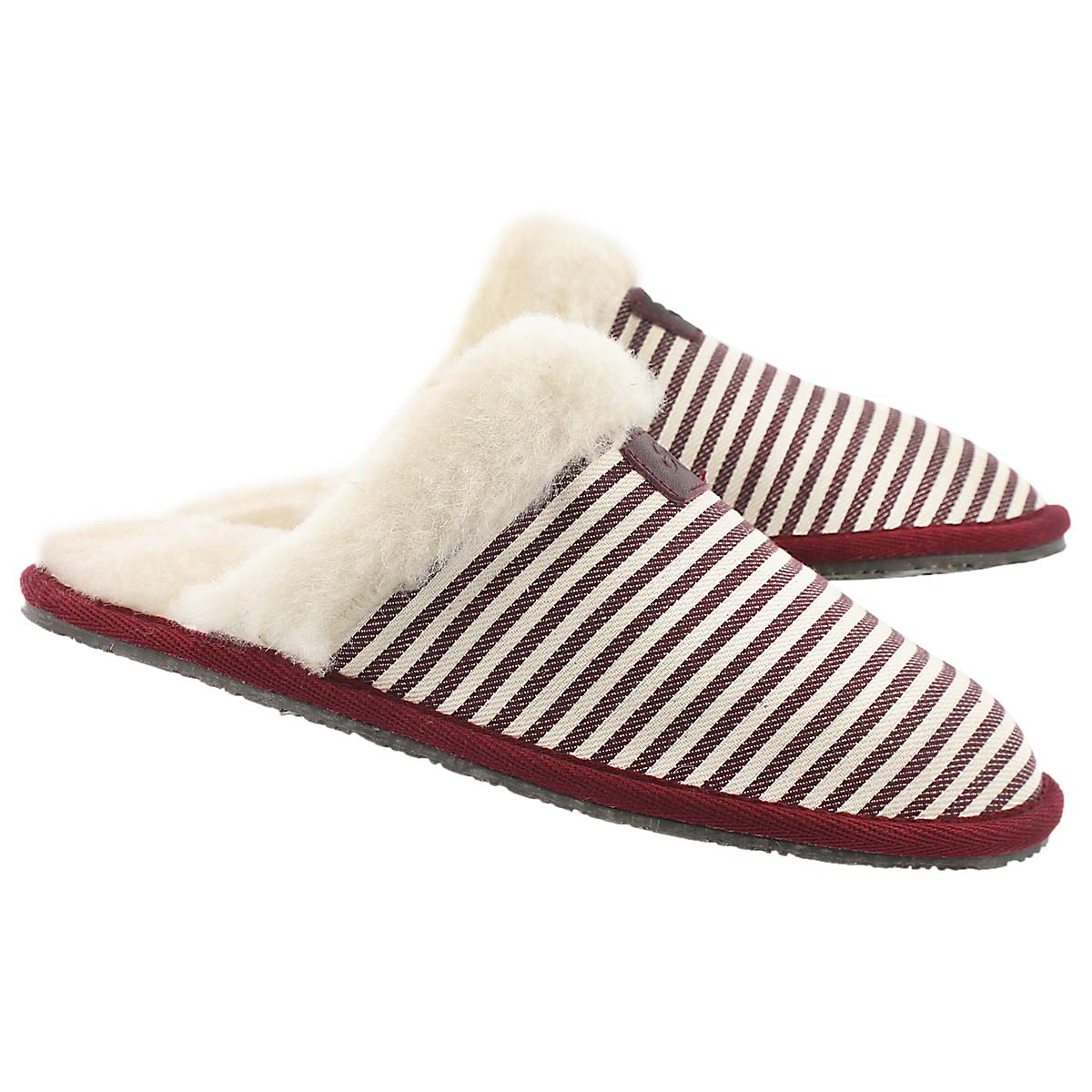 Lds Stacey burg stripe mem. foam slipper