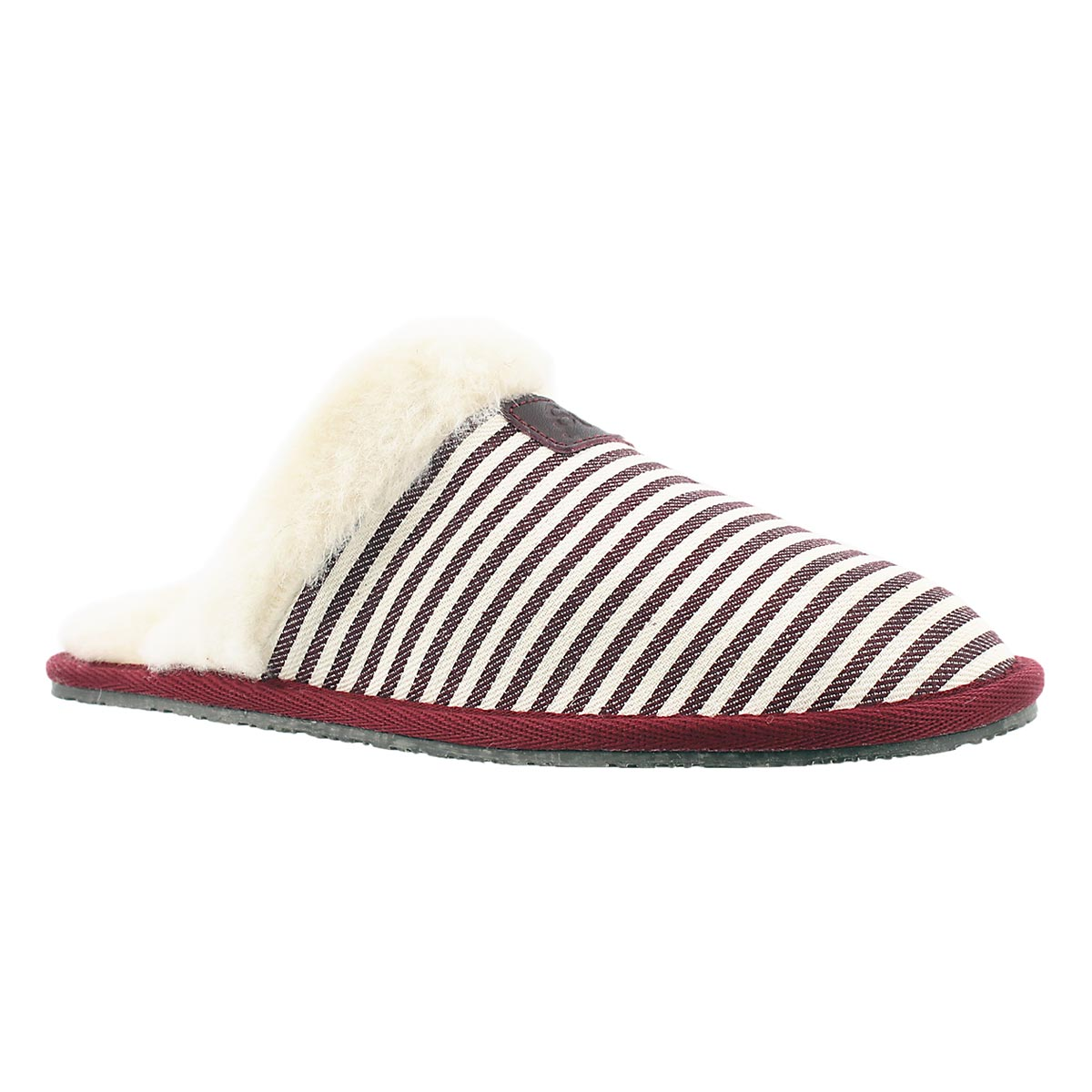 Women's STACEY burgundy stripe memory foam slipper