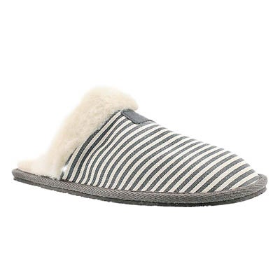 SoftMoc Women's STACEY grey stripe memory foam slippers